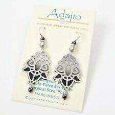 Adajio Earrings Black and White Back with Shiny Silver Deco Overlay and Beads