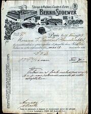 """PARIS (XVIII°) USINE de MACHINES à ECRIRE & à COUDRE """"BERNH STOEWER"""" en 1907"""