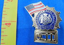 LOT OF 5 DETECTIVE NEW YORK POLICE DEPT 9-11 FLAG MINI BADGE LAPEL PIN