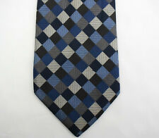 BURBERRY LONDON check silk tie Made in England long tall blue gray jacquard