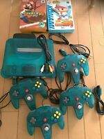 Nintendo 64 clear blue Console&4Controller&2games TESTED from Japan