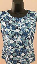 Women's L.L. Bean Blue Floral Printed Sleeveless Shelf Bra Athletic Top~Medium