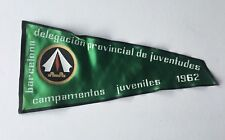 Vintage 1962 Spanish Camping Souvenir Pennant Flag Barcelona