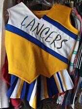 Vintage Halloween Costume Cheerleader cheerleading Uniform Lancers Blue Yellow