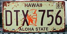 "Car License Plates number ""DTX-759 ALOHA STATE "" Vintage Vintage Metal Sign"