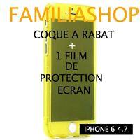 Housse étui pochette coque rabat silicone jaune iphone 6 4.7 + 1 film