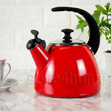 NEW ENAMEL Carbon Steel WHISTLING Kettle Electric Gas HOBS Fresh Fusion RED