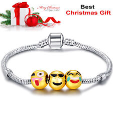 Gold Plated Beads 3D Emoji Bracelet Charm Christmas Ladies Girls Babies Gift 18K
