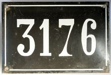 Large old black French house number 3176 door gate plate enamel metal sign