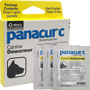Panacur C Canine Dewormer Treatment Three 1-Gram Each Packet Treats 10 lbs