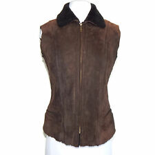 MAX MARA WEEKEND Brown Leather Shearling Zip Front size 2