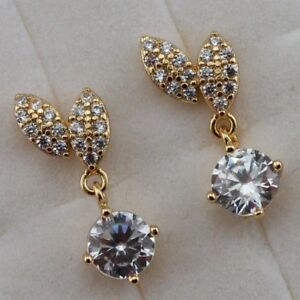 Crazy Hot White Drop Round CZ Gem Jewelry Yellow Gold Filled Stud Earrings h2742