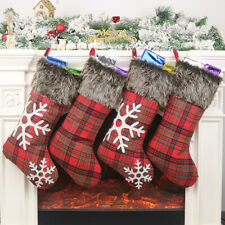 Christmas Stockings Plaid Fluffy socks Candy Gift Hanging Bag Xmas Dec Christmas