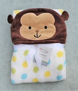 Hooded Baby Blanket Soft Poly Fleece Lambs & Ivy Curly Tails Monkey