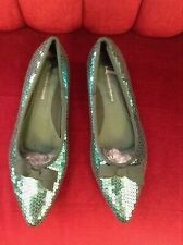 Ladies girls blue turquoise sequin shoes 7 new