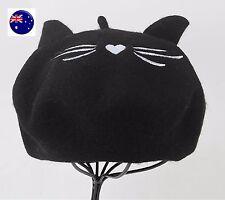Women Lady Warm Chic Wool Blend Kitty Cat Ear Beanie French Artist Beret Hat Cap