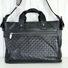 Christian Lacroix Paris Black Leather Handbag Laptop Bag Womens Briefcase Euc
