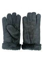 Women's Genuine Sheepskin Black Suede Warm Leather Shearling Fur Gloves