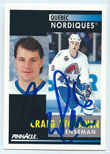 Craig Wolanin signed 1991-92 Pinnacle card Quebec Nordiques autograph #217