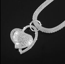 925 Sterling Silver Double Heart Pendant Beautiful Necklace Charm Gift for Her