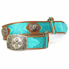 Mongolian Silver Belt Bucklewith Blue Color for Deel