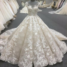 Champagne Lace 3D Floral Ball Wedding Dress Cathedral Train Church Bridal Gown