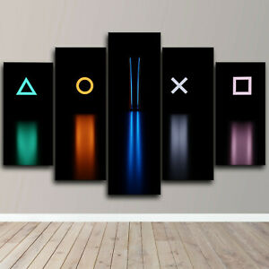 Play Station 5 Gamer Room 5 Piece Canvas Wall Art Game Print Home Decor