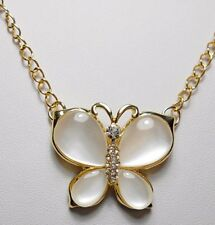 35mm Butterfly necklace, cats eye, - 20'' chain adjustable