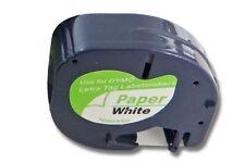 Cassette à ruban 12mm x 4m noire sur blanc pour Dymo LetraTag LT-100H