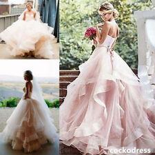 Blush Vintage Sweetheart Layered Wedding Dress Organza Ball Bridal Gown Custom