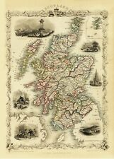 Scotland Antique Illustrated Map Tallis 23.2 x 16.8 inch