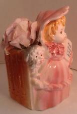 VTG.MARY HAD A LITTLE LAMB Planter, Pink Girl Blue Lamb, JAPAN, FREE HANKIES