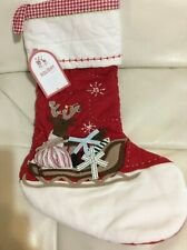 Pottery Barn Kids Christmas Quilted Red Reindeer Sleigh Stocking NWT No Mono
