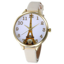Fashion Women Eiffel Tower Stainless Steel Leather Analog Quartz Wrist Watch us