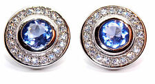 Sterling Silver Tanzanite And Diamond 2.26ct Stud Earrings (925) Free Gift Box