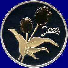 2002 Canada 50 Cents Golden Flower(Tulip) 9.3 Grams .925 Silver In Case With COA