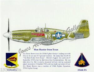 "355FG 2Lt Henry Brown's ""Hun Hunter from Texas"" P-51B Mustang by Willie Jones Jr"
