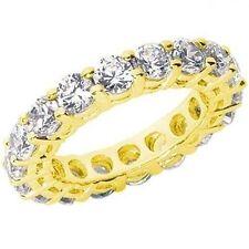 3.01 ct Round Diamond Ring 18k Yellow Gold Eternity Band G-Si1 Sz 6 0.15 ct each