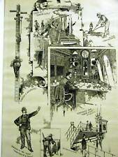 GRAND CENTRAL STATION NYC DISPATCH SCHOOL 1889 Antique Art Print Matted