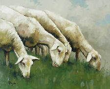 Original Oil painting - farmyard art -  sheep - portrait - by j payne