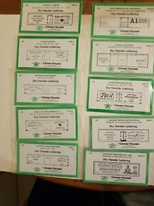Ho Scale Clover House Dry Transfer Lettering Assorted Lot of 10