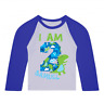 Personalised I am 2 Dinosaur Birthday Baseball Top Second Birthday Custom Dino