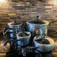 Vintage Farberware LOT 1 2 8 Qt Sauce Stock Pot Pan w/Lids Double Boiler USA NY