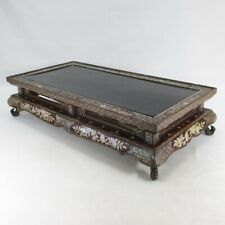 C719: Real Chinese old lacquer ware decorative stand with wonderful RADEN work