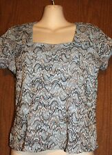 dressbarn Gray Blue w/Multicolor Embroidery Body Square Neck Lined Shirt Top M