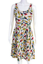 Karen Walker Womens Cotton Rosella Bird Print Sundress Beige Red Yellow Size 8