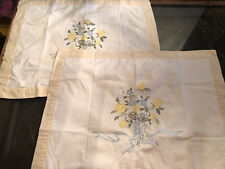 Embroidered Cotton Pillow Shams Set Of 2 Standard Size White With Tan Trim