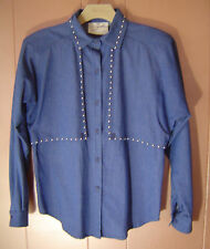 Blue Denim Western Long-Sleeve Shirt Womens Medium Silver Stud Spencer Creations