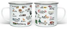 Winter Bucket List Festive Christmas Novelty Enamel Gift Mug - White