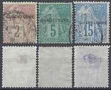 Guadeloupe colony no. 15 17 19-obliteration cachet a date-cote 17 €